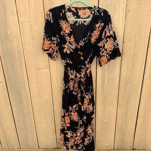 SHEIN floral wrap dress
